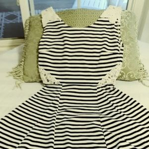 Black & White Striped Skater dress w-Lace inlay
